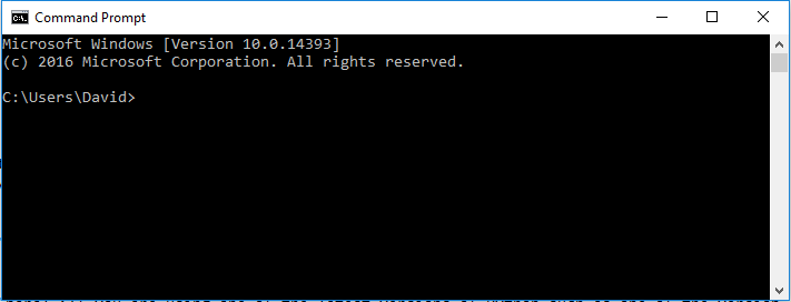 Windows Command Prompt when first opening