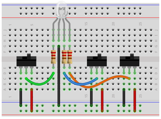 Common cathode RGB LED circuit breadboard schematic