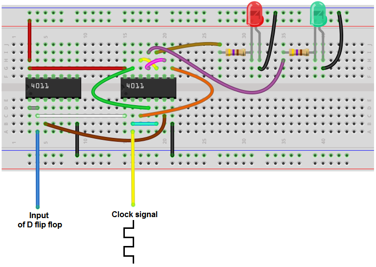 Synchronous (clocked) D flip flop breadboard circuit from NAND gates