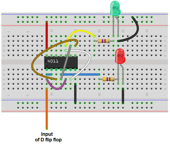 Asynchronous (non-clocked) D flip flop circuit from NAND gates