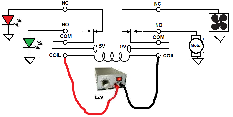 how to connect a dpdt relay in a circuit rh learningaboutelectronics com Bosch Relay Wiring Diagram Ice Cube Relay Wiring Diagram