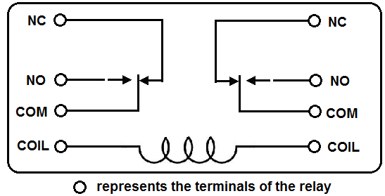 DPDT relay diagram how to connect a dpdt relay in a circuit Relay Switch Wiring Diagram at n-0.co