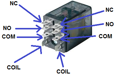 DPDT relay real life component wiring setup how to connect a dpdt relay in a circuit no nc contactor wiring diagram at crackthecode.co