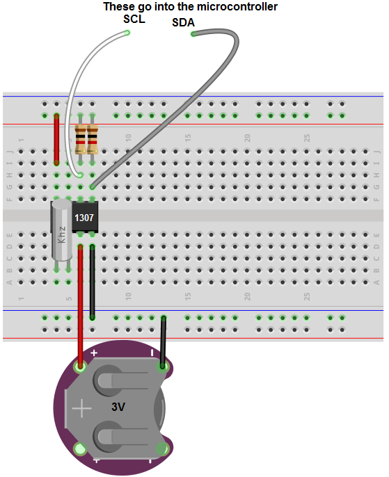 DS1307 real-time clock (RTC) circuit breadboard schematic