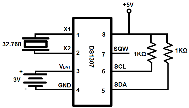 DS1307 real-time clock (RTC) circuit