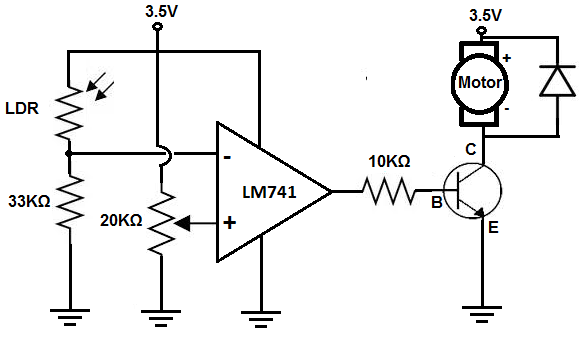 Dark-activated motor circuit