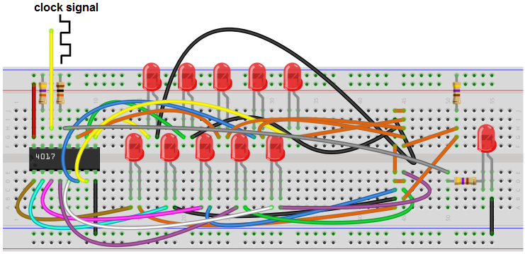 Decade counter breadboard circuit with a 4017 chip