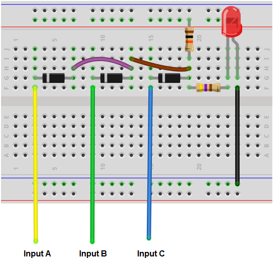 Diode AND gate breadboard circuit