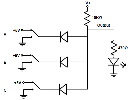 circuit diagram of logic gates using diodes