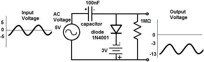 how to build a diode clamper circuit rh learningaboutelectronics com DC Voltage Clamping Circuit Audio Amplifier Circuit