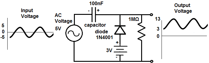 how to build a diode clamper circuit rh learningaboutelectronics com DC Voltage Clamping Circuit Current Clamp