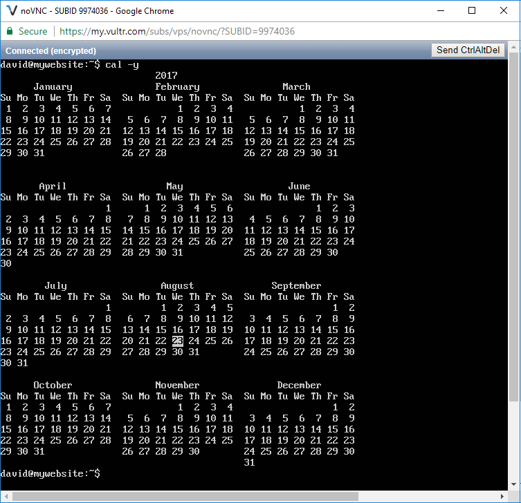 Displaying the calendar for the current year in linux
