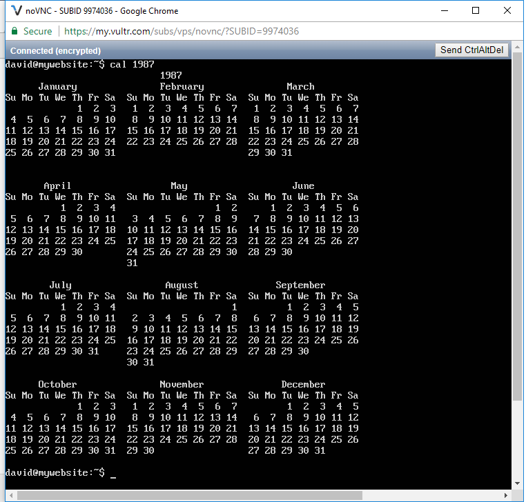 Displaying the calendar for the year 1987 in linux
