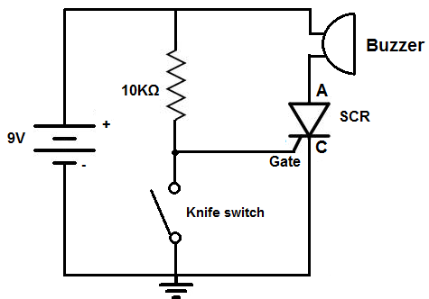 how to build a door alarm circuit rh learningaboutelectronics com door open alarm circuit diagram laser door alarm circuit diagram