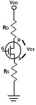 Drain-source voltage VDS of a JFET Transistor