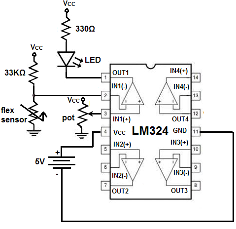 Flex Sensor Circuit With A Voltage  parator on op amp lm324 datasheet
