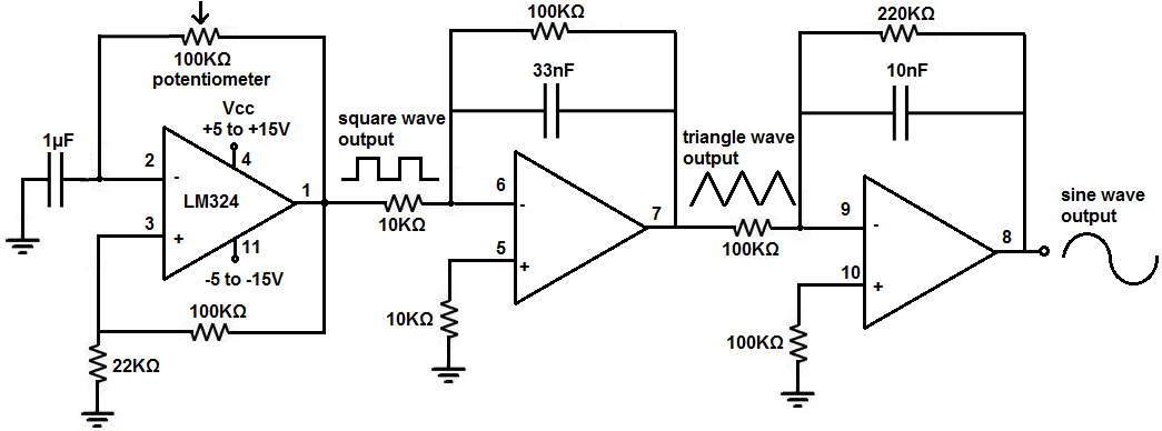 how to build a simple function generator circuit with an lm324 op rh learningaboutelectronics com Voltage Generator Block Diagram function generator block diagram explanation