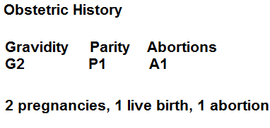 GPA System Obstetric history- gravity, parity, abortions