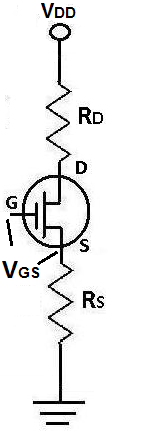Gate-source voltage VGS of a JFET Transistor