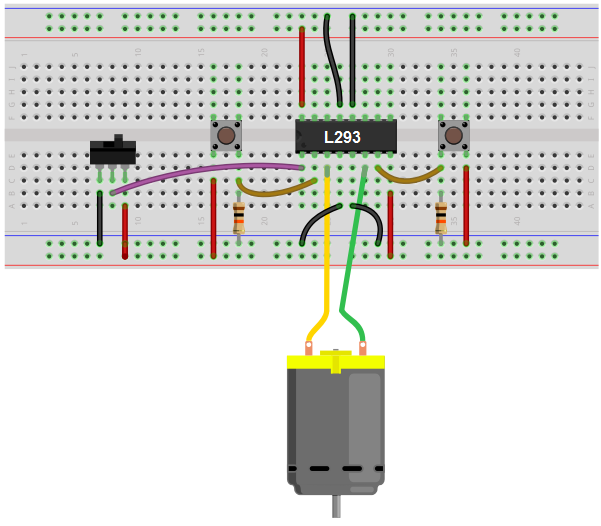 H-bridge circuit breadboard schematic