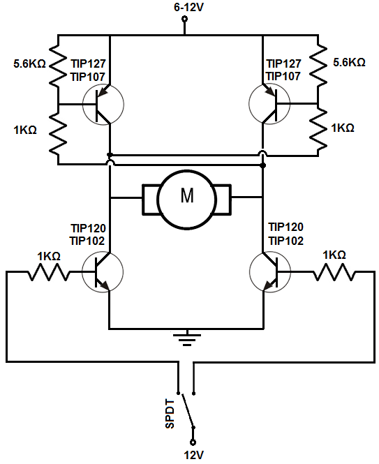 How to Build an H bridge Circuit with Transistors H Bridge Schematic on