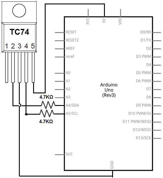 I2C TC74 temperature sensor circuit