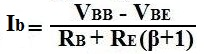 formula to calculate the base current Ib of a transistor