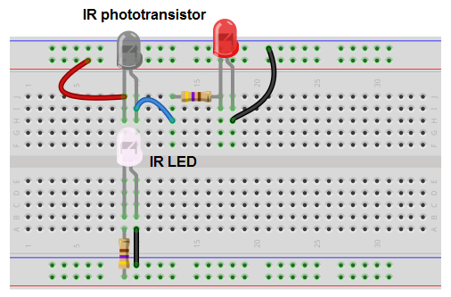 how to build an infrared detector circuitinfrared (ir) phototransistor detector circuit breadboard schematic