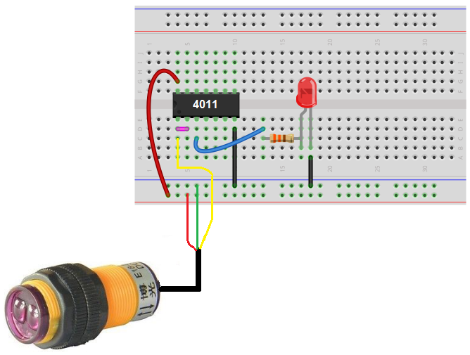 Infrared proximity switch circuit using NAND gate breadboard schematic