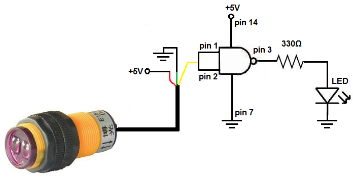 Infrared proximity switch circuit with NAND gate diy proximity sensor diy project 3 Wire Sensor Wiring at bayanpartner.co