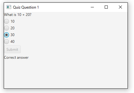 How to Simulate a Multiple Choice Test Question in JavaFX