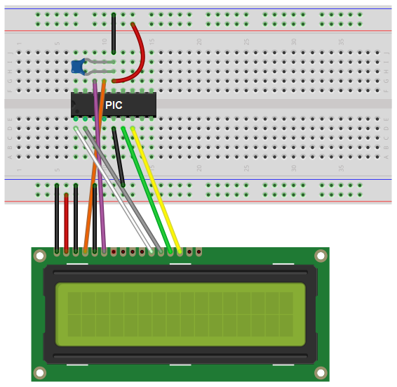 LCD circuit with a PIC18F1220 breadboard schematic