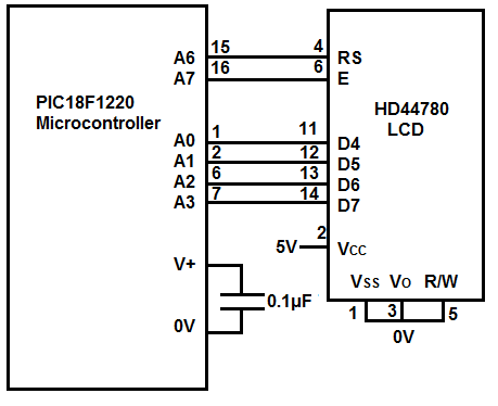 LCD Circuit with a PIC18F1220
