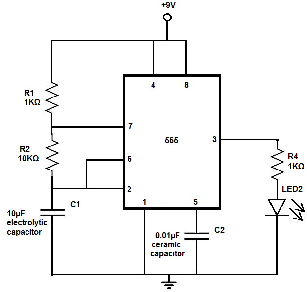how to build an led flasher circuit with a 555 timer chip rh learningaboutelectronics com led flasher relay wiring diagram motorcycle led flasher wiring diagram