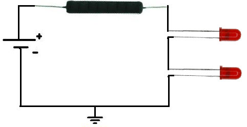 LEDs in series resistor circuit