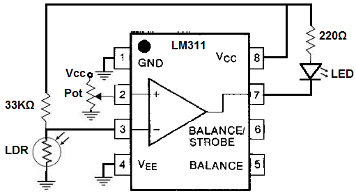 how to build a voltage comparator circuit with an lm311
