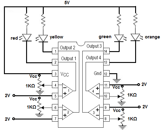 how to build an lm339 quad voltage comparator circuit rh learningaboutelectronics com  lm339 comparator circuit diagram