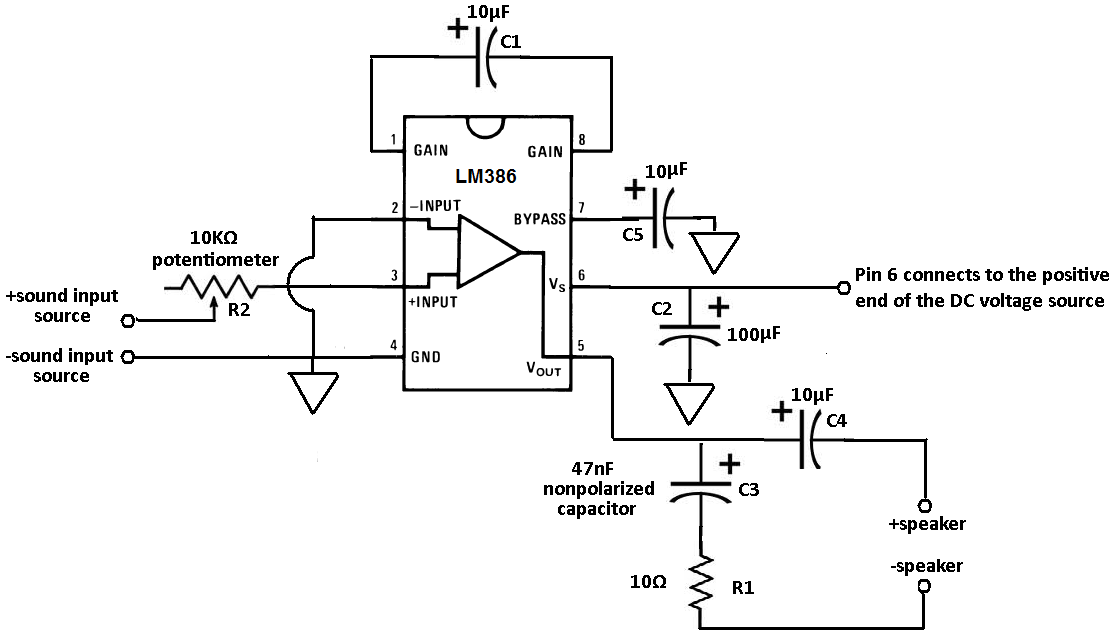 how to connect a lm386 audio amplifier chip to a circuit