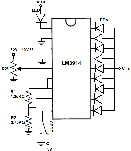 how to build an lm3914 dot  bar display driver circuit