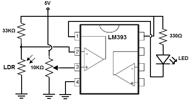 how to build a comparator circuit with an lm393