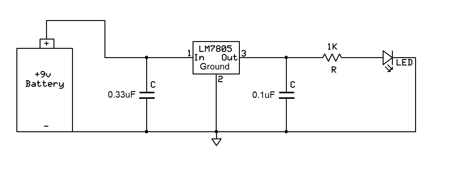 how to connect a voltage regulator in a circuit rh learningaboutelectronics com 7805 5V Fixed Voltage Regulator 7805 Voltage Regulator Pinout