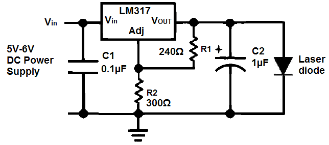 how to build a laser diode circuit rh learningaboutelectronics com laser diode driver circuit schematic laser diode driver circuit diagram