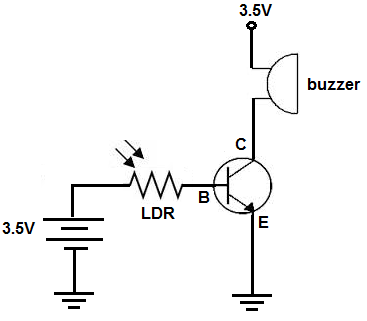 Light-activated buzzer circuit