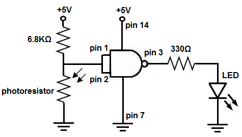 how to build a light detector circuit with a nand gate chip rh learningaboutelectronics com Not Gate And Gate Circuit
