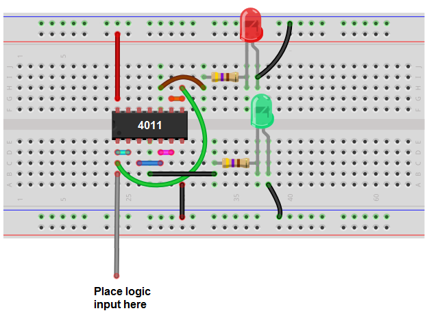Logic probe circuit breadbard schematic
