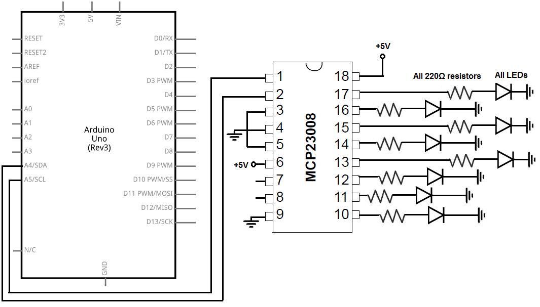 Connect an MCP23008 I/O Port Expander to an Arduino