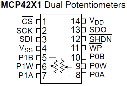MCP4231 digital potentiometer pinout