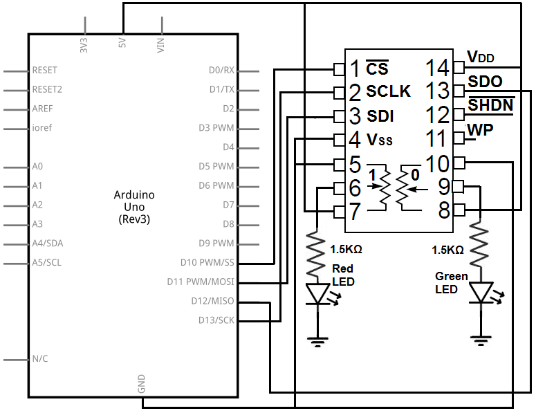 MCP4231 digital potentiometer circuit