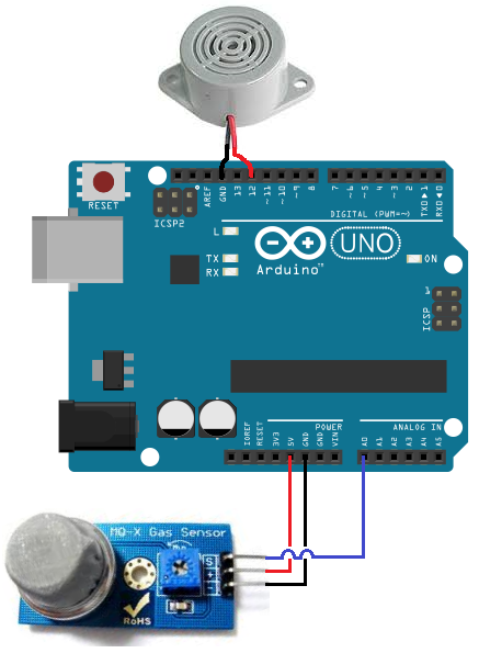Arduino MQ-2 smoke sensor circuit