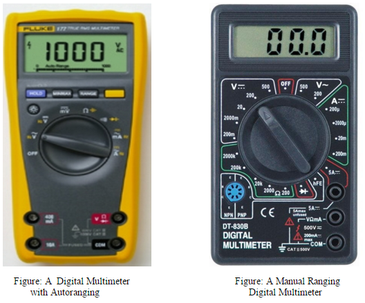 Manual ranging and autoranging digital multimeters